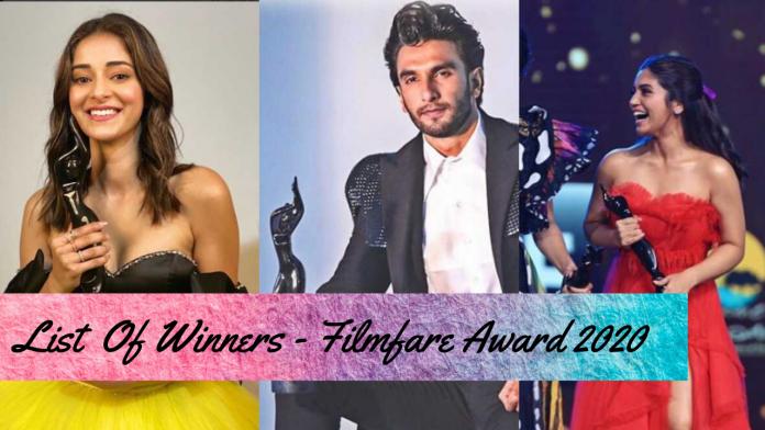 List Of Winners 65th Amazon Filmfare Awards 2020 - Feedogram