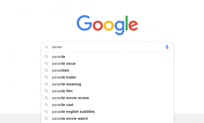 Parasite searches on Google post-2020 Oscars win
